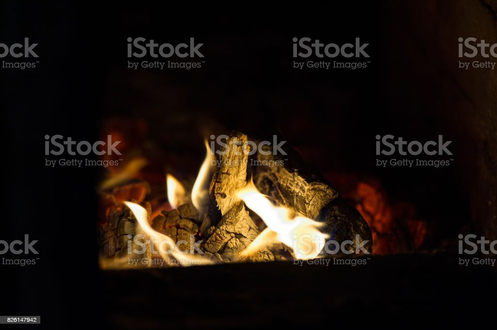 Smoldering fire stock photo
