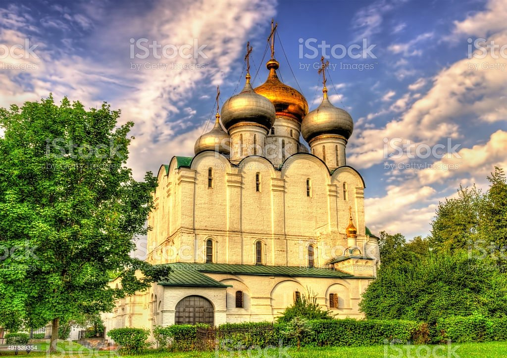 Smolensk Cathedral of Novodevichy Convent, a UNESCO site in Mosc stock photo