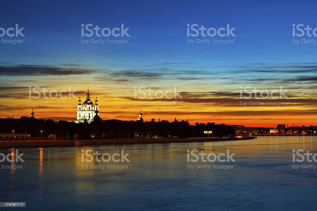 Smolny Cathedral at sunset royalty-free stock photo