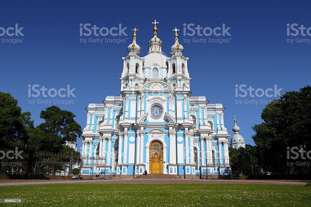 Smolny Cathedral in St Petersburg. stock photo