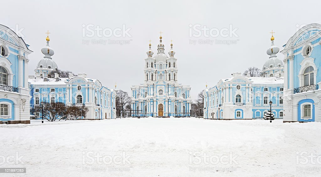 Smolny Cathedral, St. Petersburg, Russia stock photo