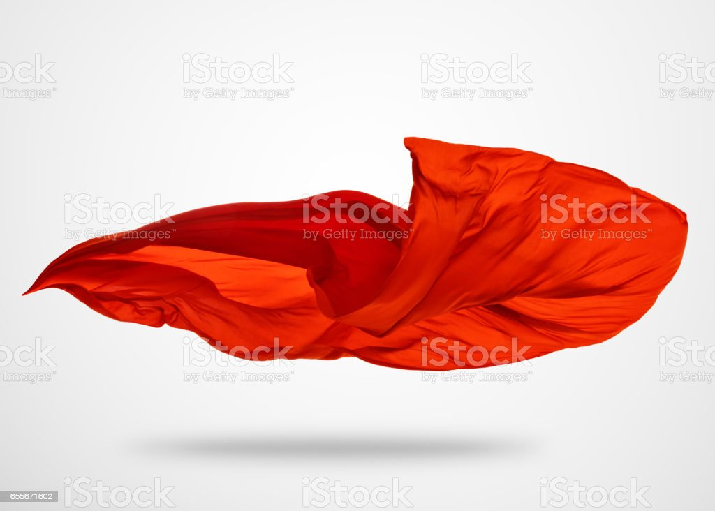 Smooth elegant red cloth on gray background stock photo