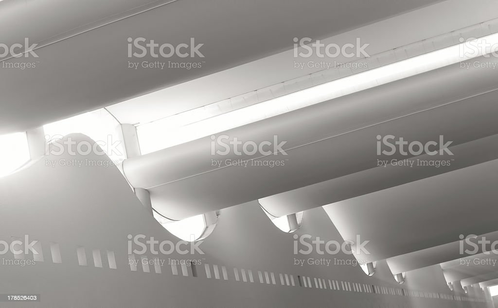 Smooth Sunlit Architecture inside Mall stock photo