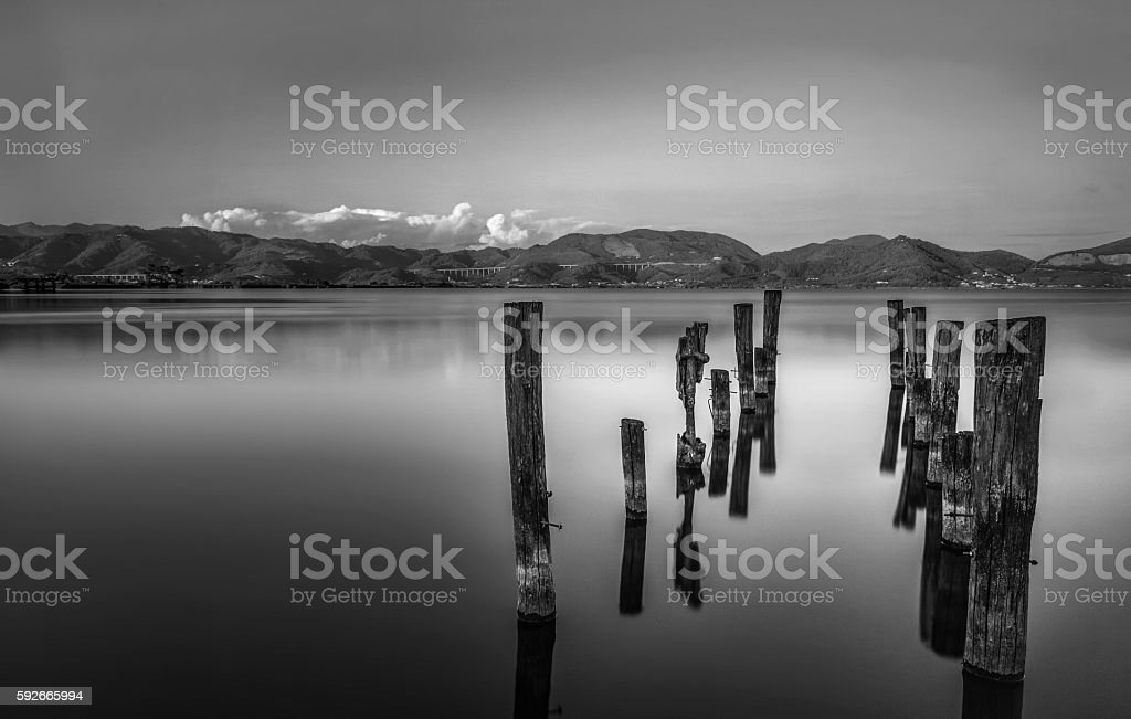 Smooth waters, lake. Black and white stock photo