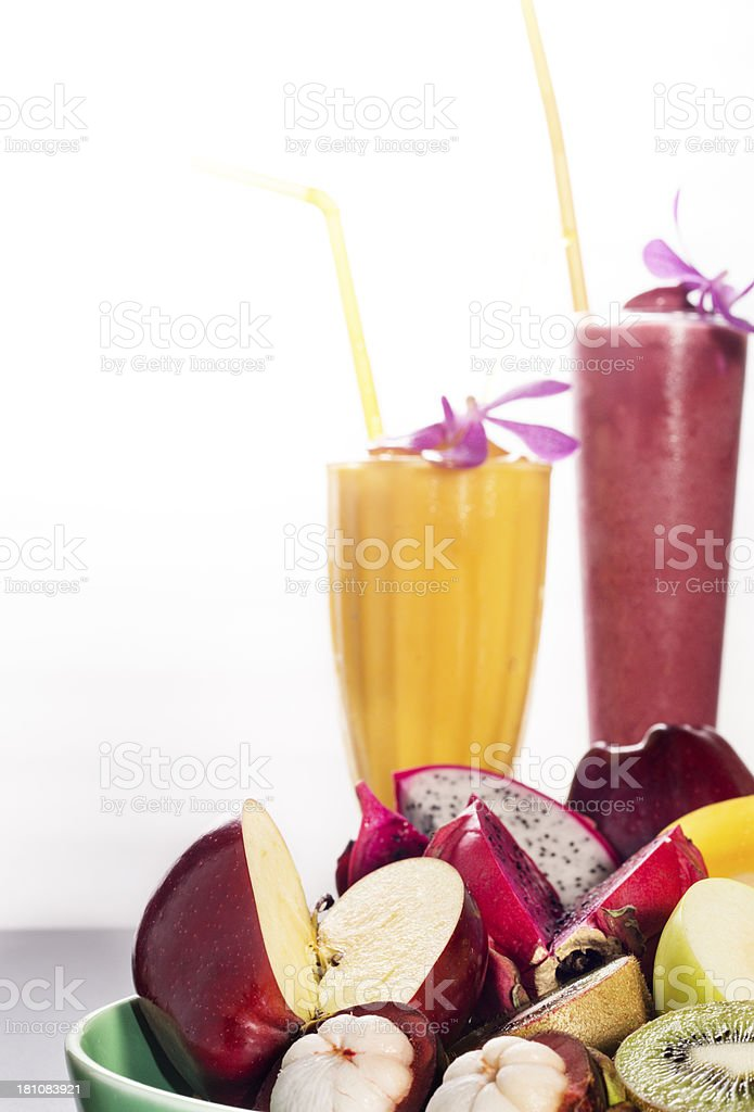 Smootheis and Fruit royalty-free stock photo