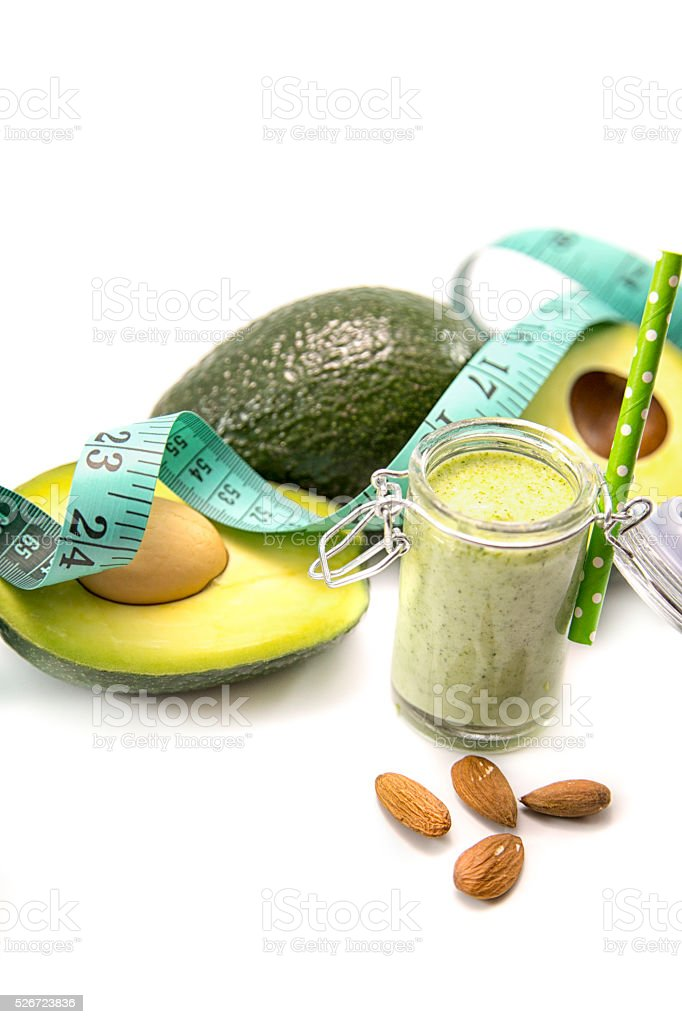 Smoothie avocado and avocado  on white background stock photo