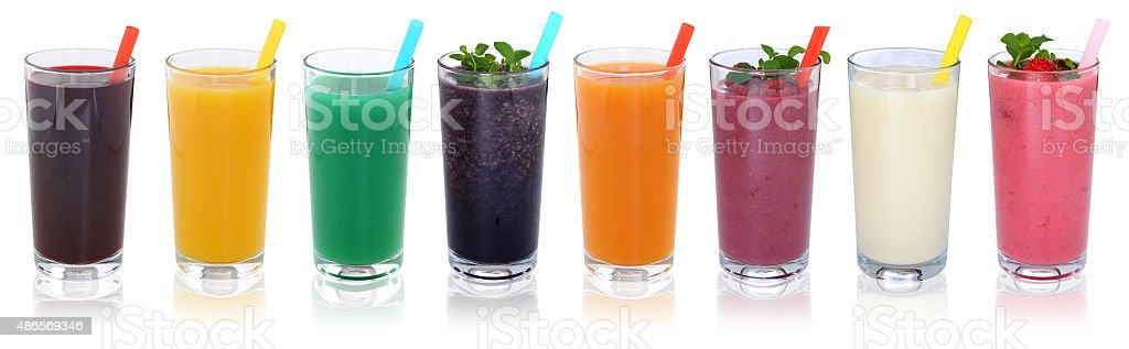 Smoothie fruit juice smoothies drinks with fruits in a row stock photo