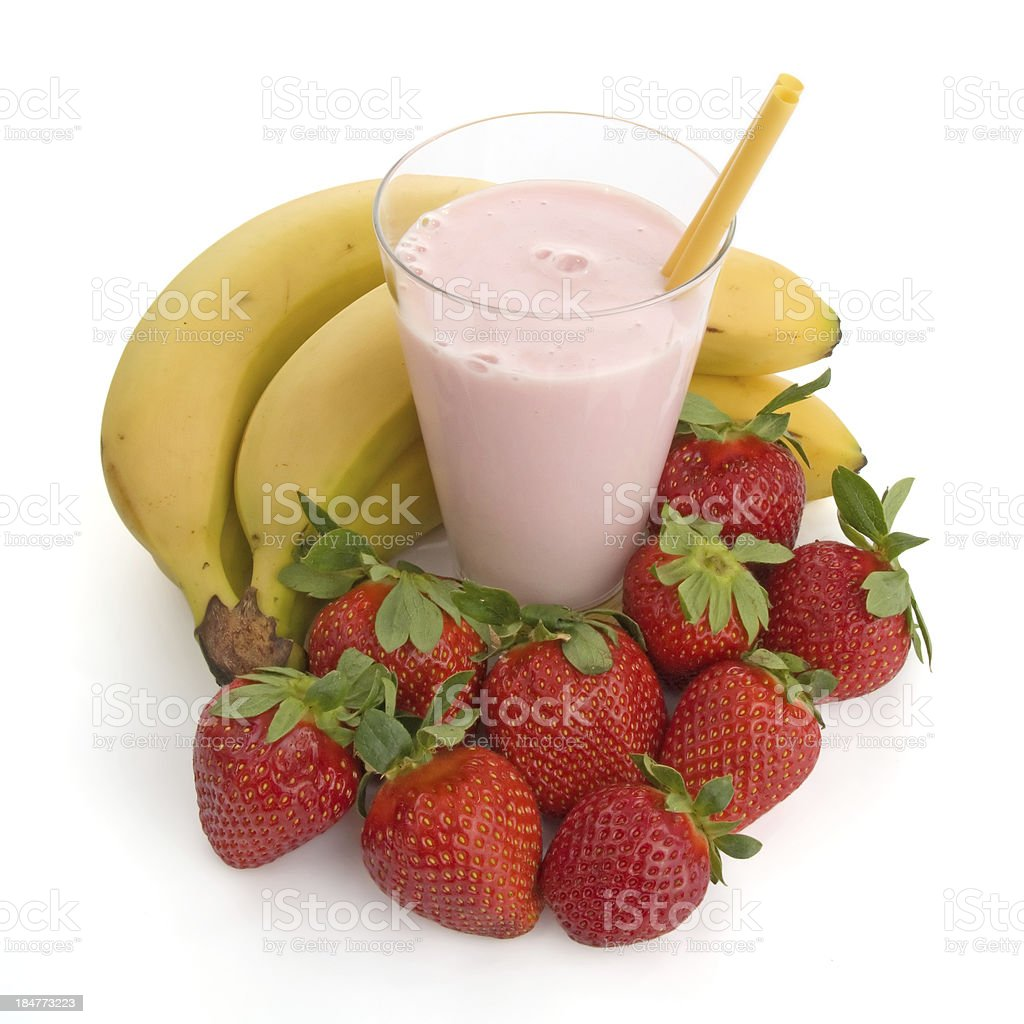 Smoothie made with strawberries and bananas royalty-free stock photo