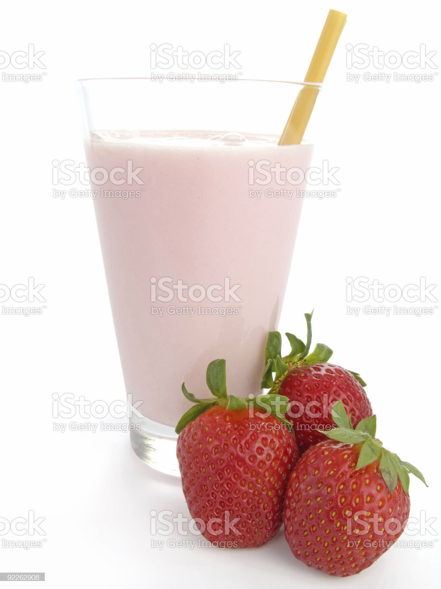 Smoothie made with strawberries royalty-free stock photo