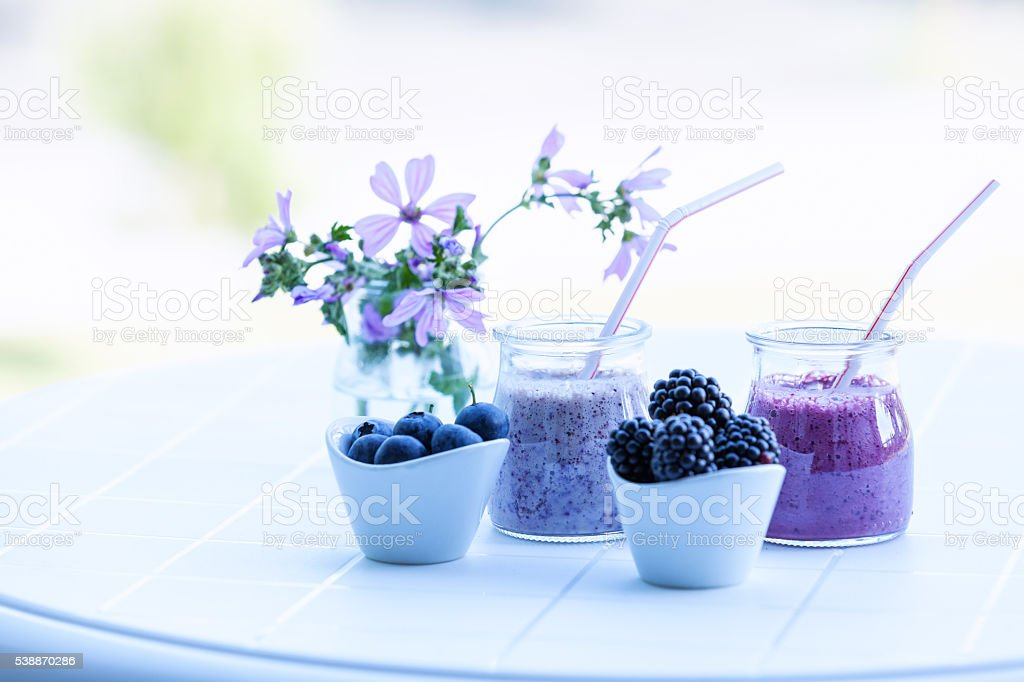 Smoothie of blueberry and blackberry stock photo