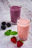 smoothie of strawberries and blackberry on a table