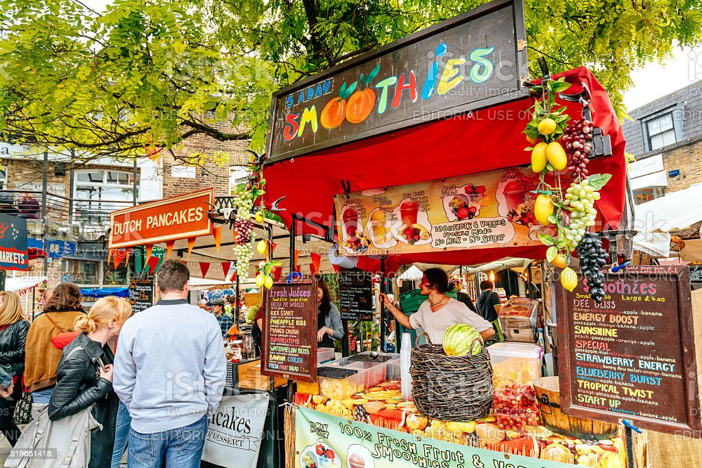 Smoothie stall, Camden Lock market in London, UK stock photo