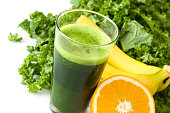 Smoothie with kale, banana and orange