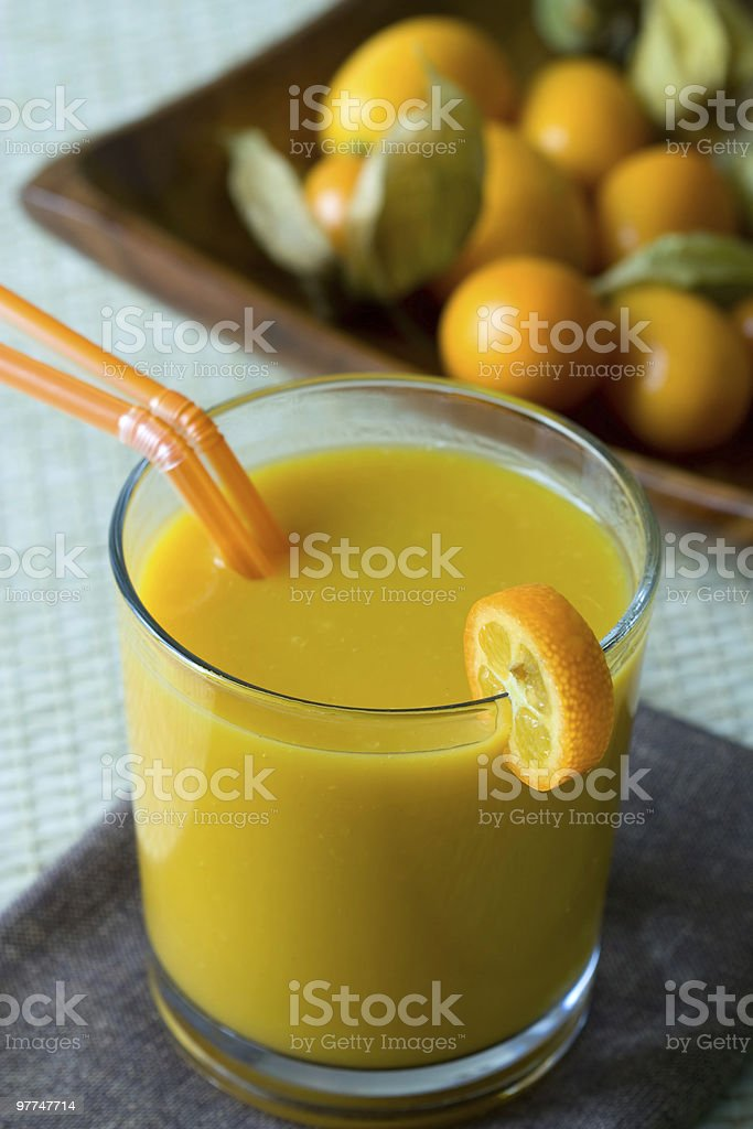 Smoothie with tropical fruits stock photo