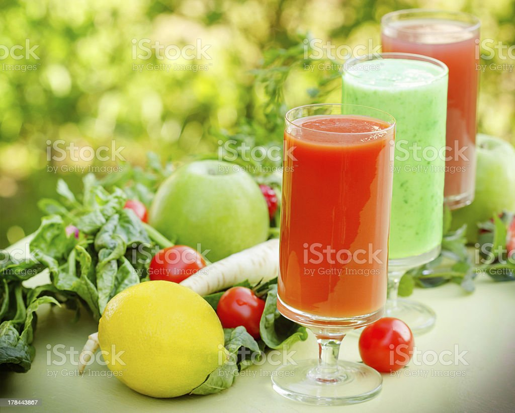 Smoothies made of fruits and vegetables royalty-free stock photo