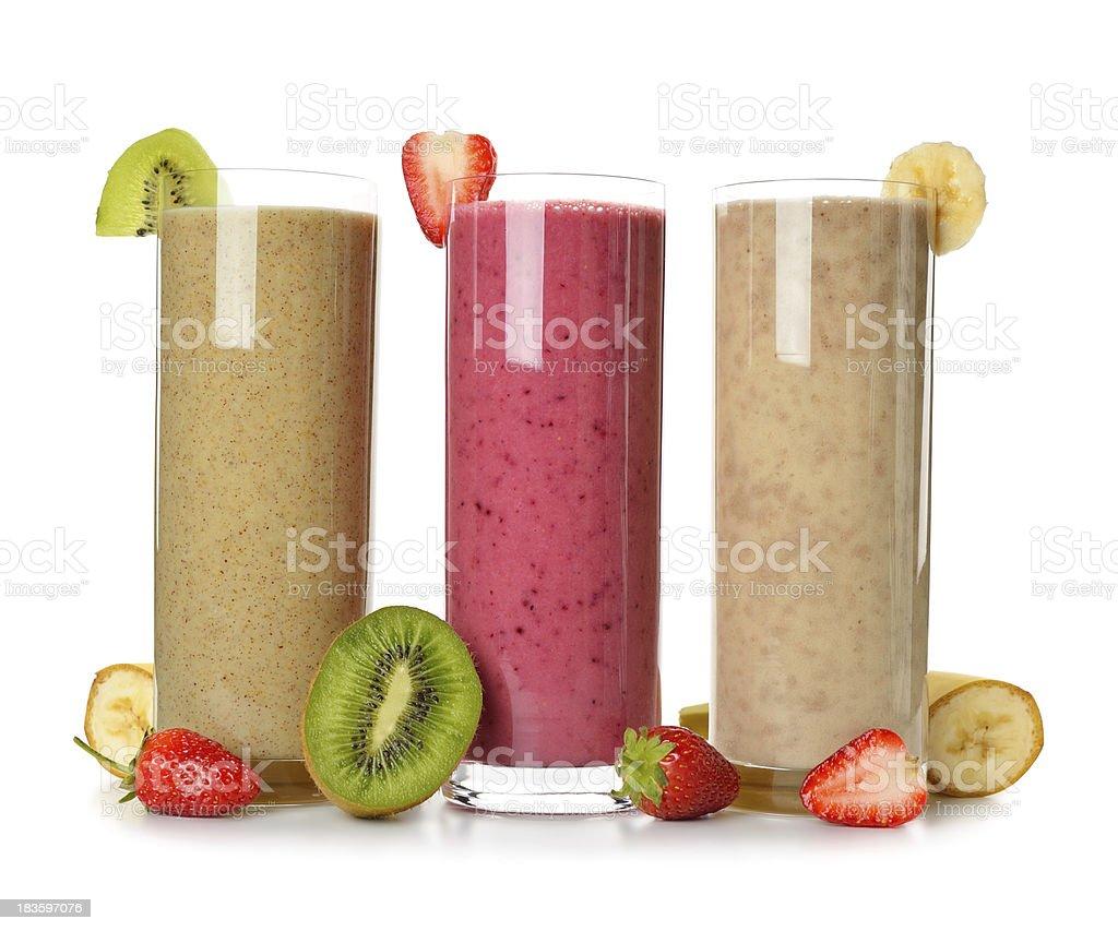 Smoothies strawberry, banana and kiwi royalty-free stock photo