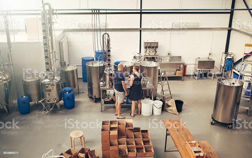 Smoothly run distillery for smoothly crafted gin stock photo