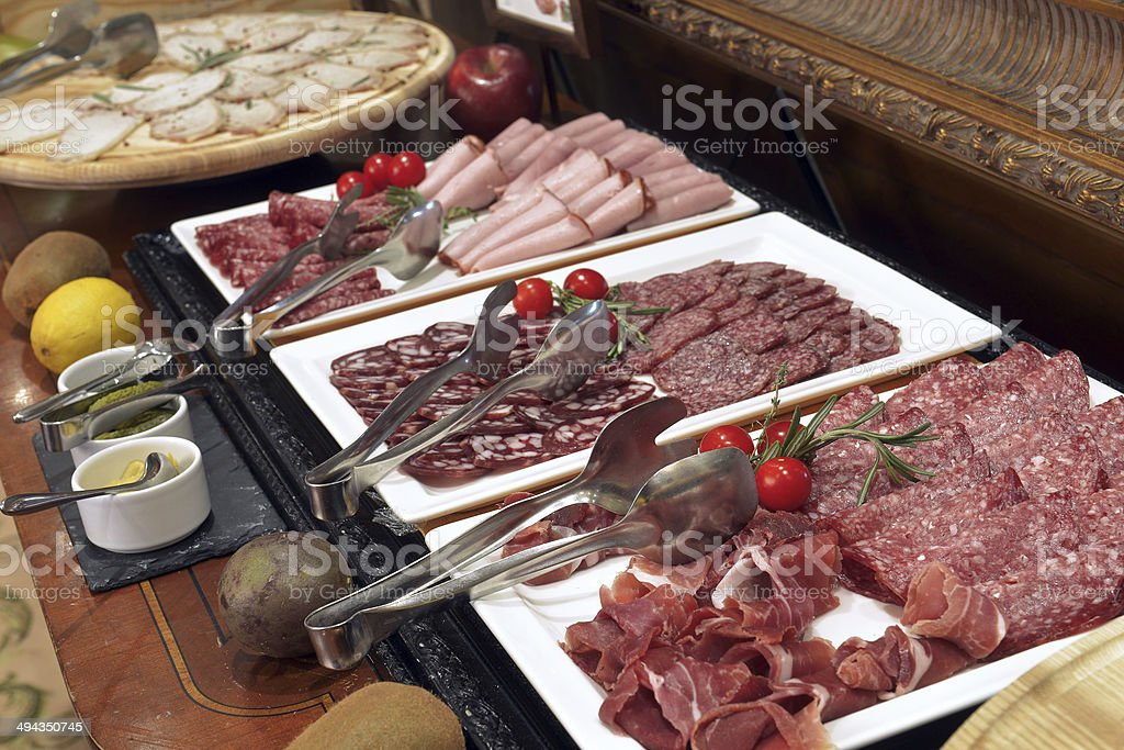 Smorgasbord - food choice in a restaurant stock photo