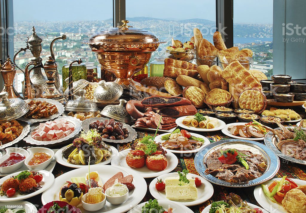 Smorgasbord of traditional foods stock photo