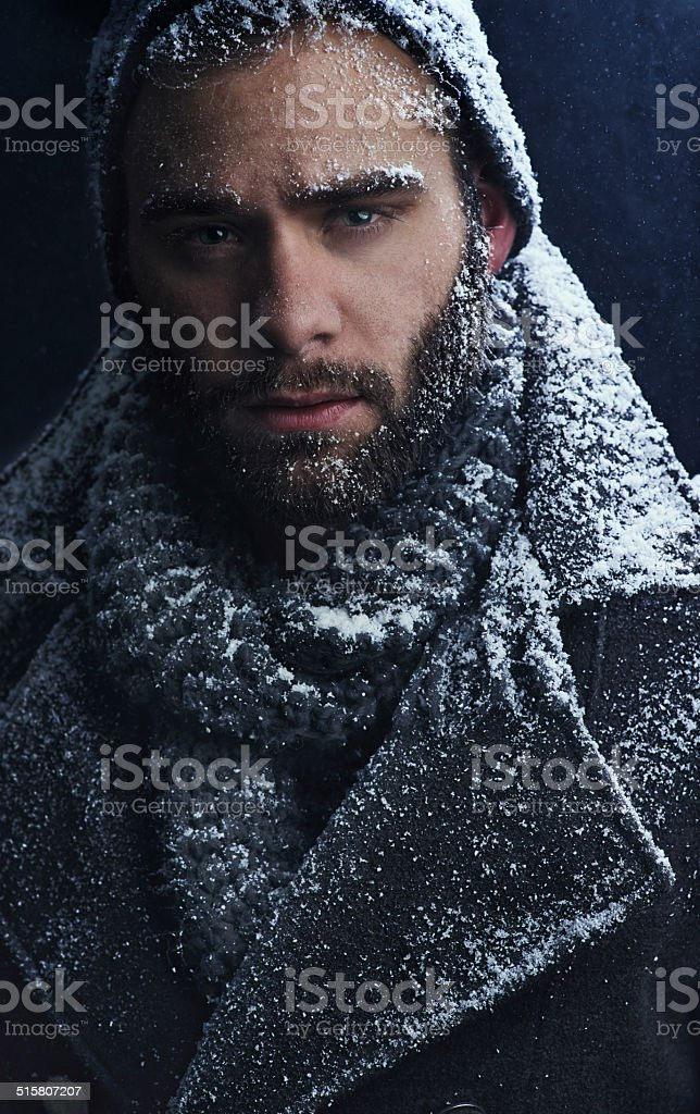 Smouldering snow stock photo