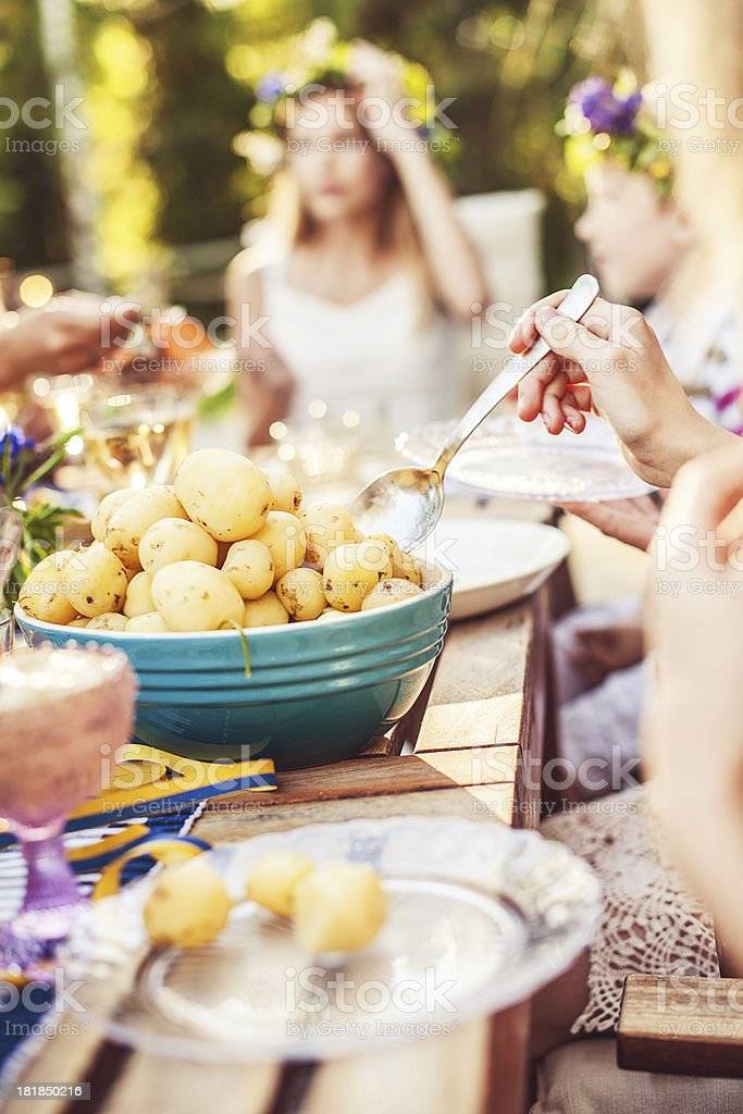Sm?rg?sbord with pickled herring and new potatoes stock photo