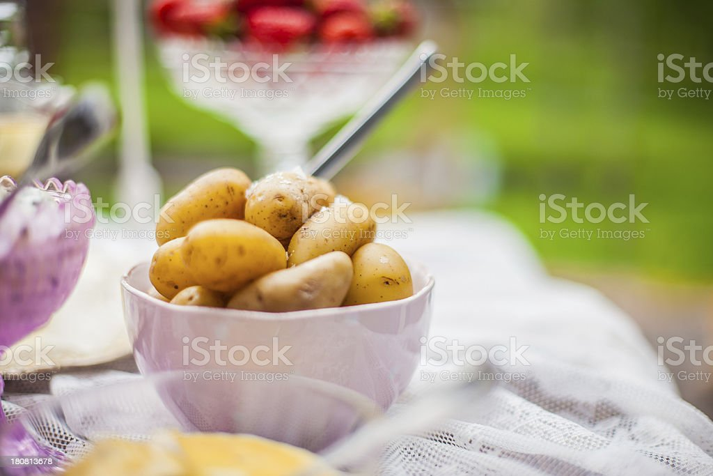 Sm?rg?sbord with pickled herring and potatoes royalty-free stock photo