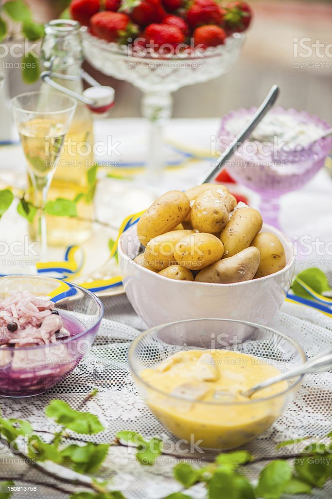 Sm?rg?sbord with pickled herring and snaps stock photo