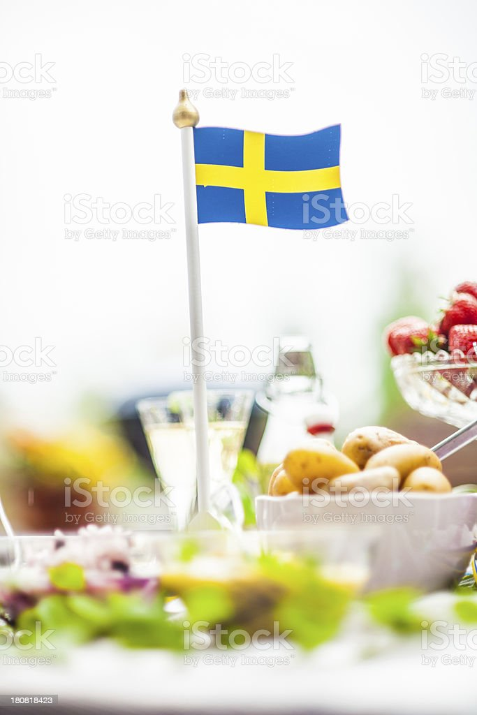 Sm?rg?sbord with pickled herring and snaps royalty-free stock photo
