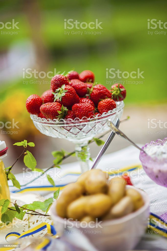 Sm?rg?sbord with strawberries royalty-free stock photo