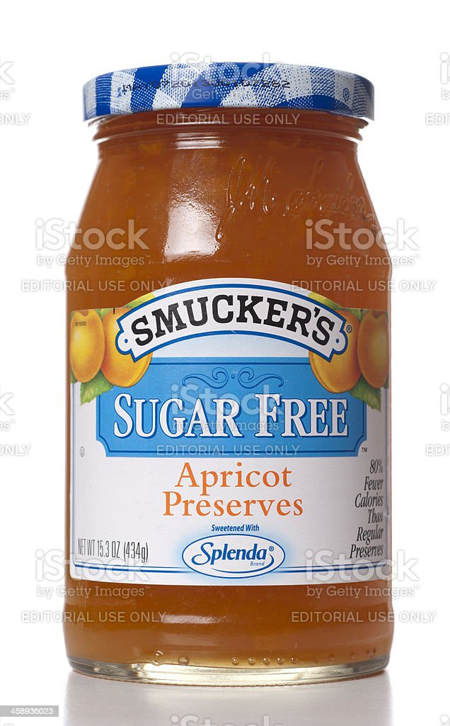 Smuckers Sugar Free Apricot Preserves stock photo