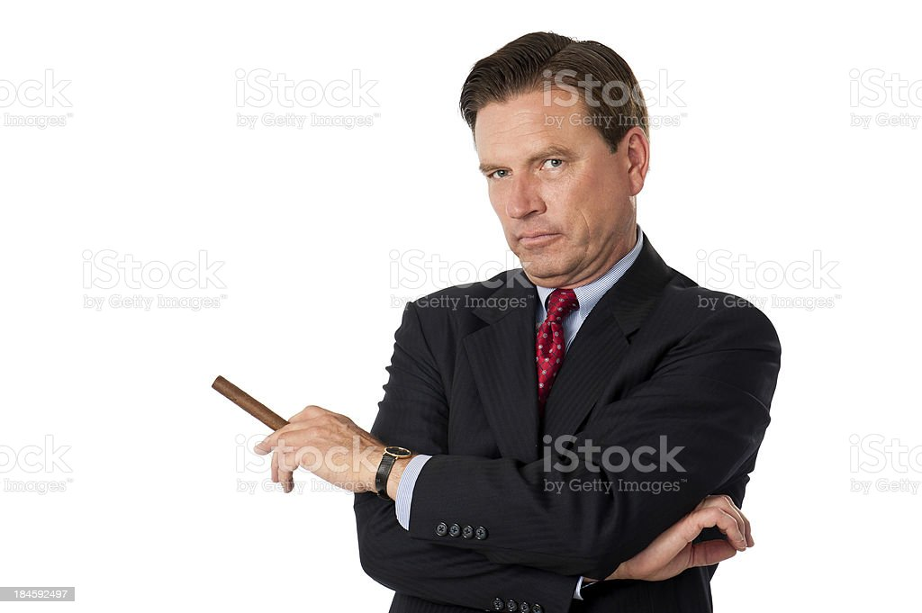 Smug Corporate Executive With Cigar stock photo