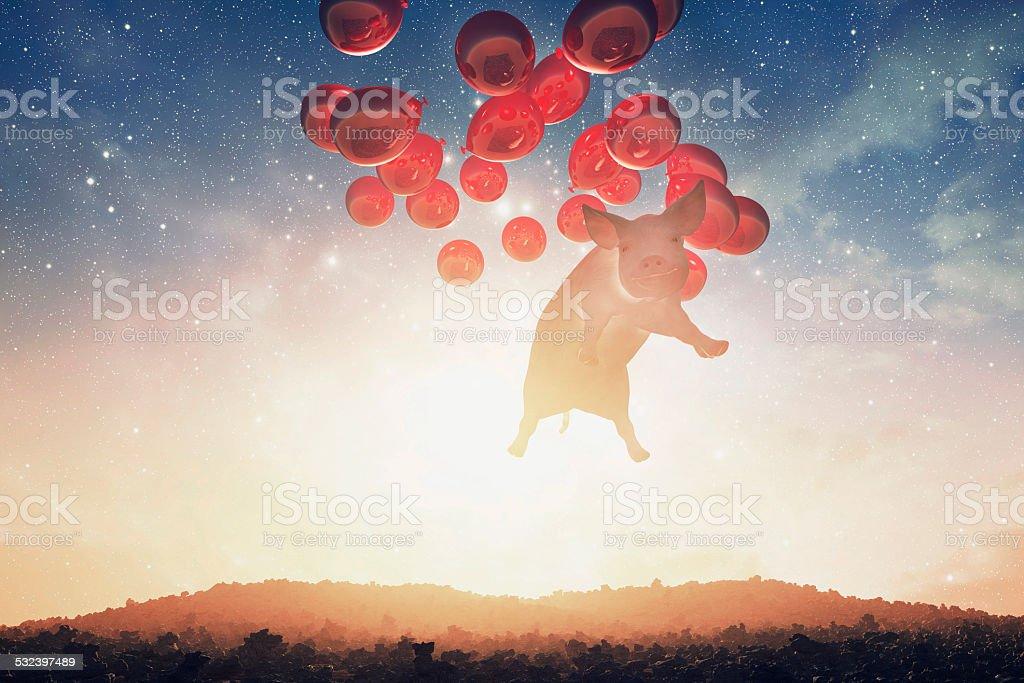 Smug flying pig over the fantasy landscape stock photo