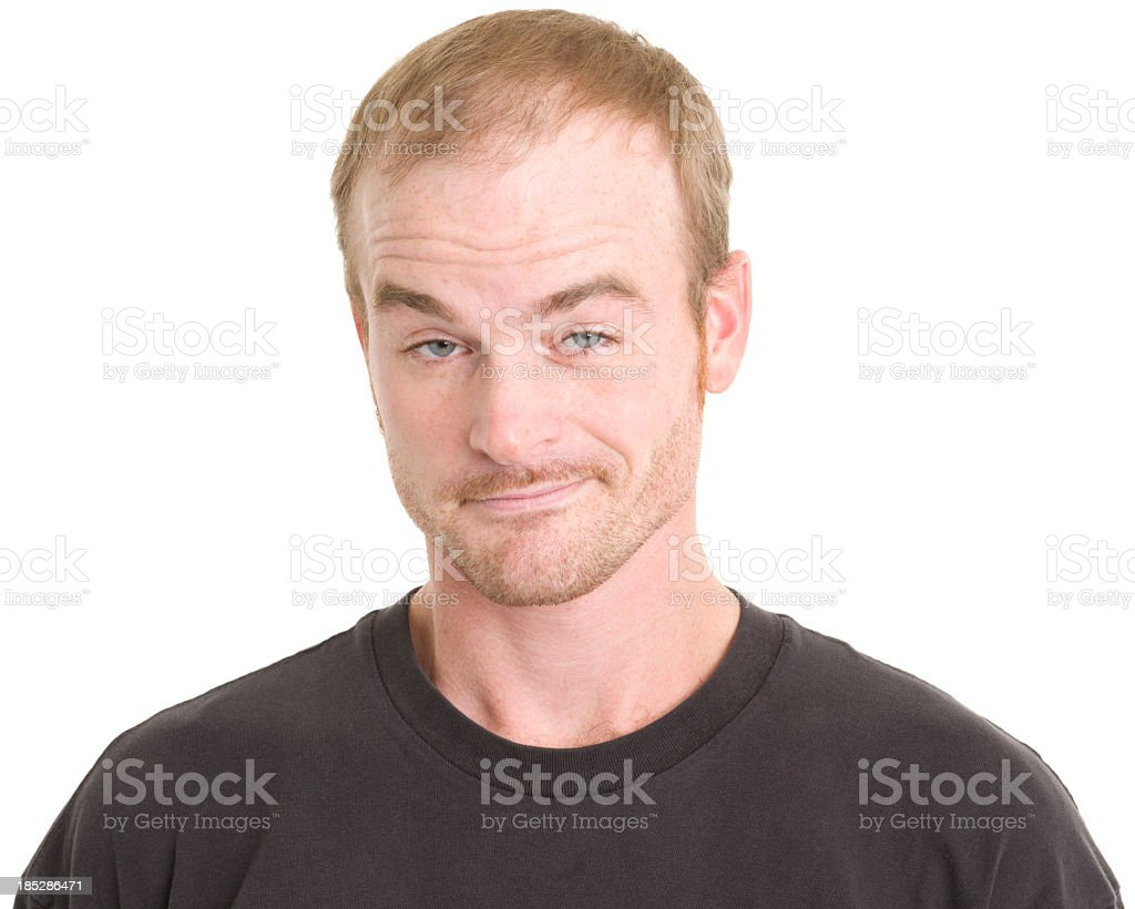 Smug Man Raises Eyebrows stock photo