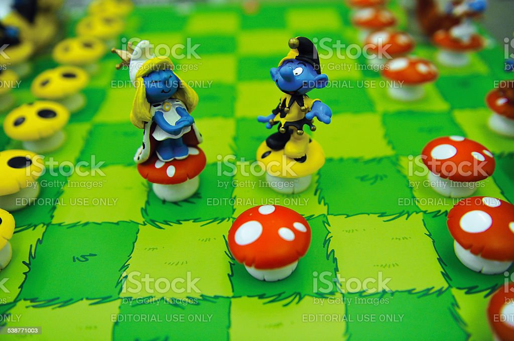 smurfs chess set stock photo