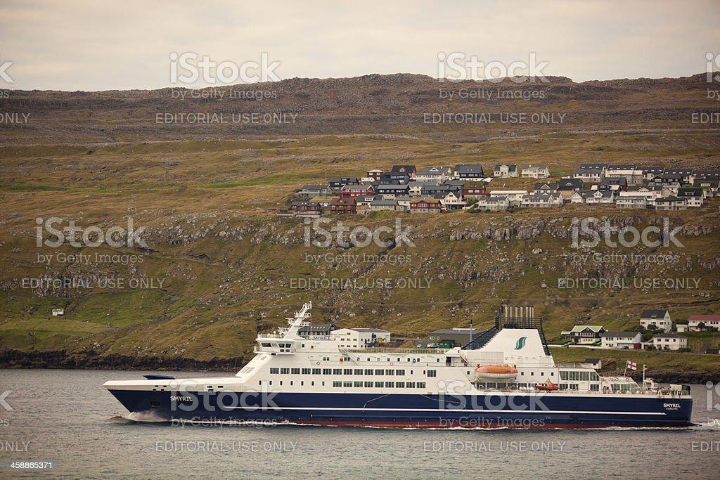 MS Smyril Ferry Entering Torshavn Harbour stock photo