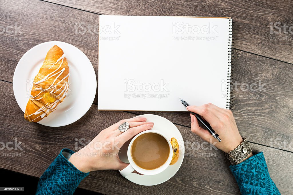 snack and a croissant stock photo