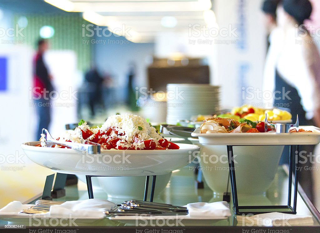 Snack at the conference coffee break stock photo