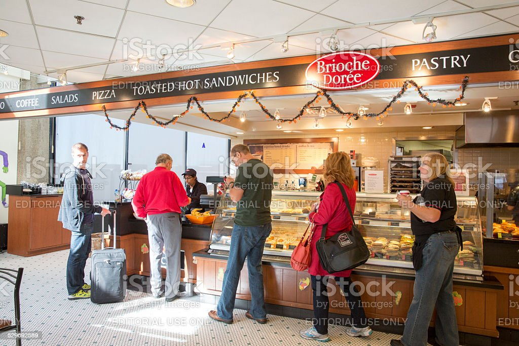 Snack bar in terminal at O'Hare International Airport stock photo