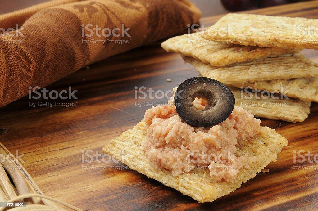 Snack cracker with deviled ham stock photo