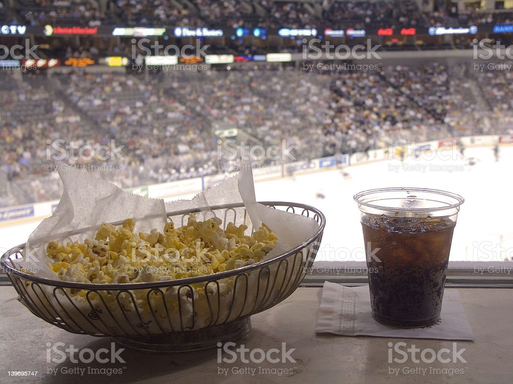 Snack food at a sports game 3 stock photo