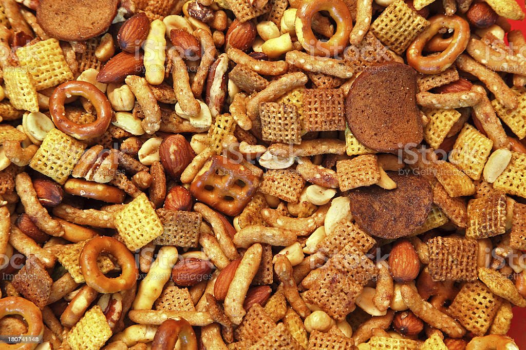 Snack Mix with Cereal Nuts Pretzels royalty-free stock photo