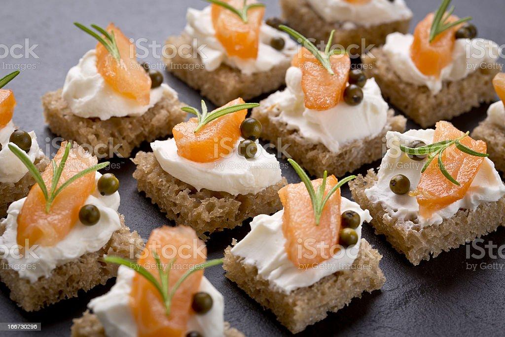 snack set with smoked salmon stock photo