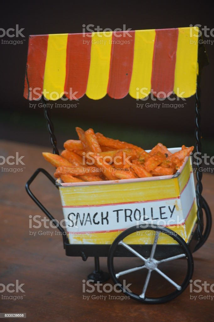 Snack trolley with french fries stock photo