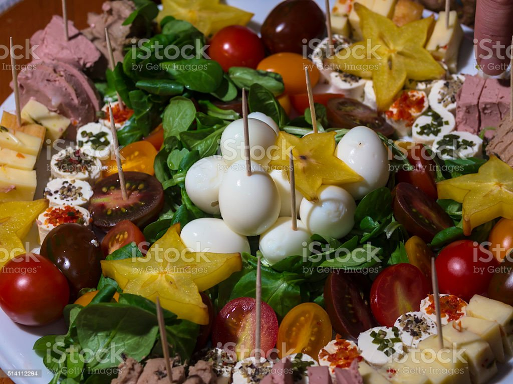 Snack with different ingredients prepared for party stock photo