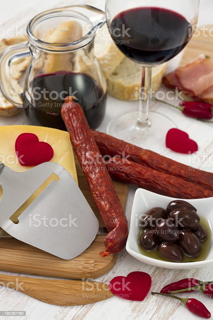 snack with red wine royalty-free stock photo