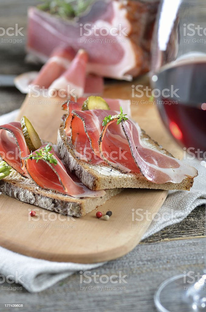 Snack with smoked bacon royalty-free stock photo