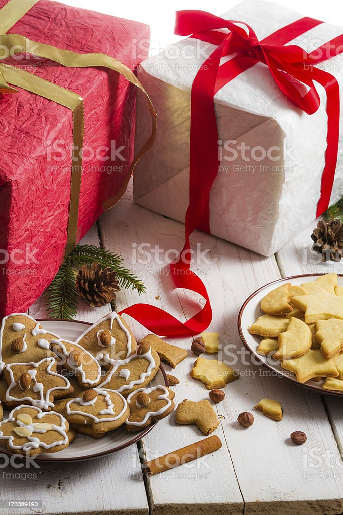 Snacking homemade christmas cookies on a plate royalty-free stock photo