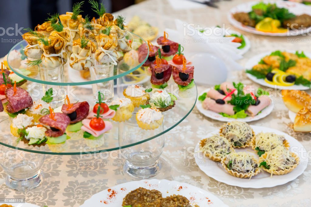 Snacks and delicacies at the Banquet or the reception. A gala reception. Catering stock photo