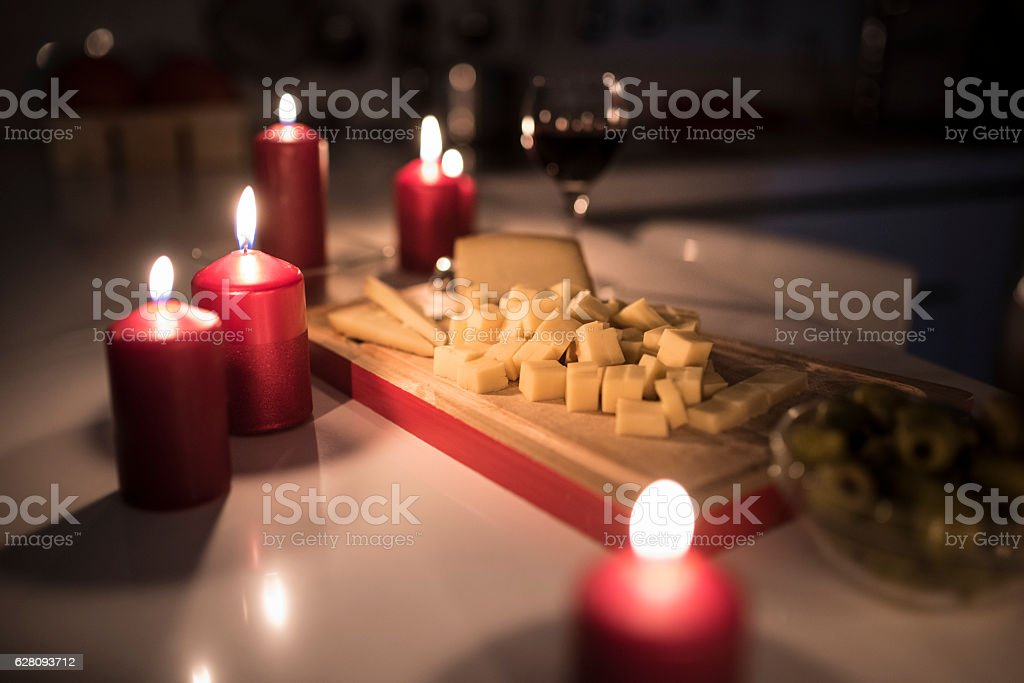 Snacks and wine stock photo
