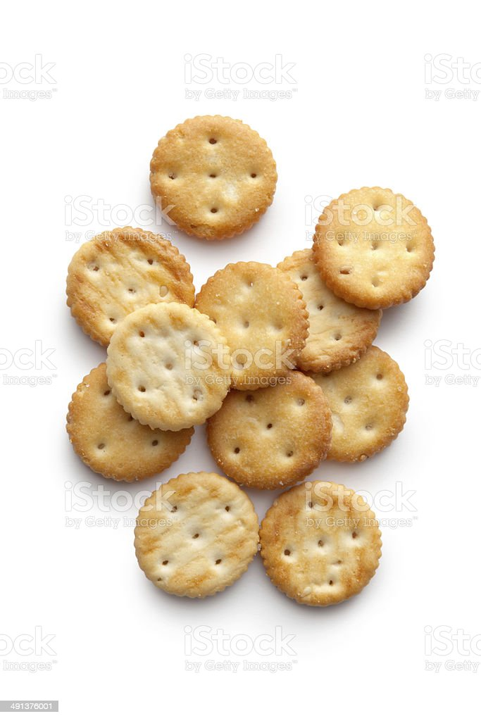 Snacks: Cracker Isolated on White Background stock photo